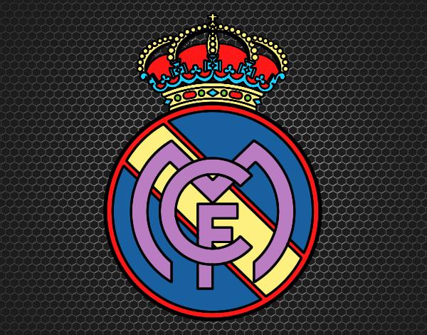 Dibujos Para Colorear Escudo Real Madrid: Dibujo De Escudo Del Real Madrid C.F. Pintado Por