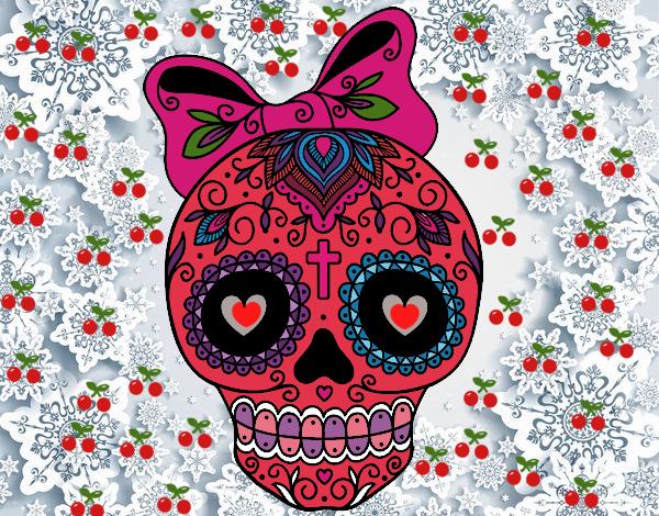 Dibujo De La Calavera Mexicana De La Buena Suerte Pintado Por En