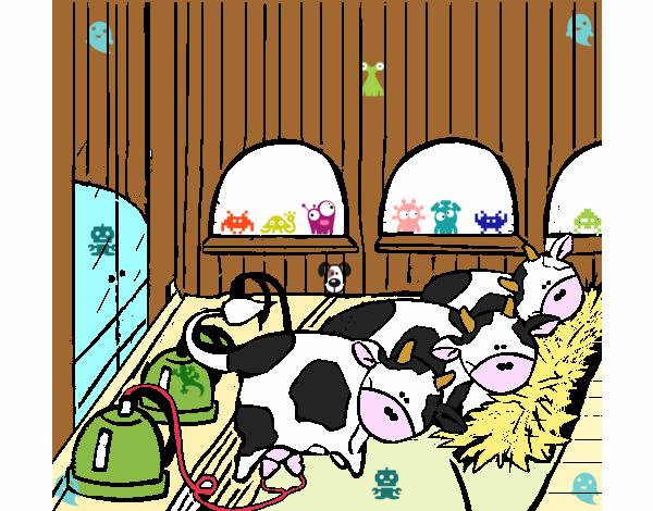 Dibujo De Vacas En El Establo Pintado Por Cookie1d En