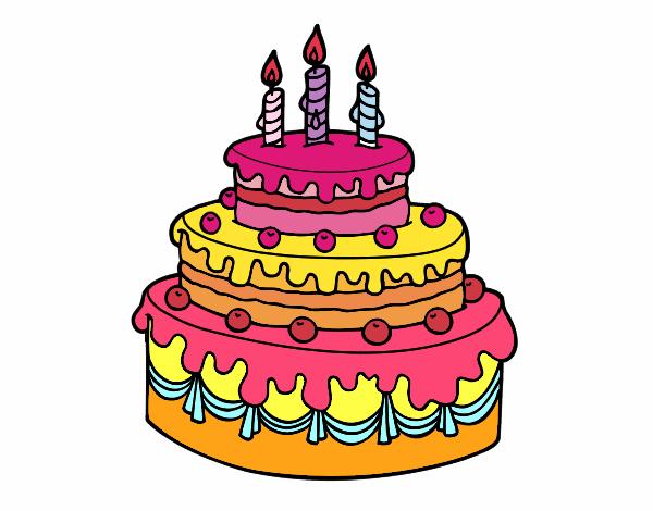 Dibuja Y Colorea Torta De Cumpleaños: Dibujo De Tarta De Cumpleaños Pintado Por Fernamda En