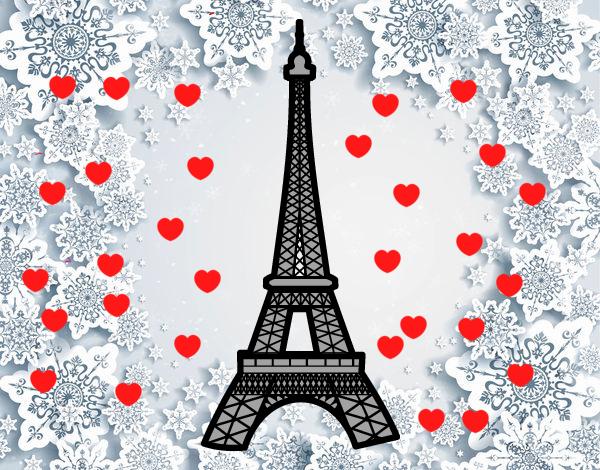 Torre Eiffel Dibujo Animado A Color: Dibujo De Paris Ciudad Del Amor Pintado Por En Dibujos.net