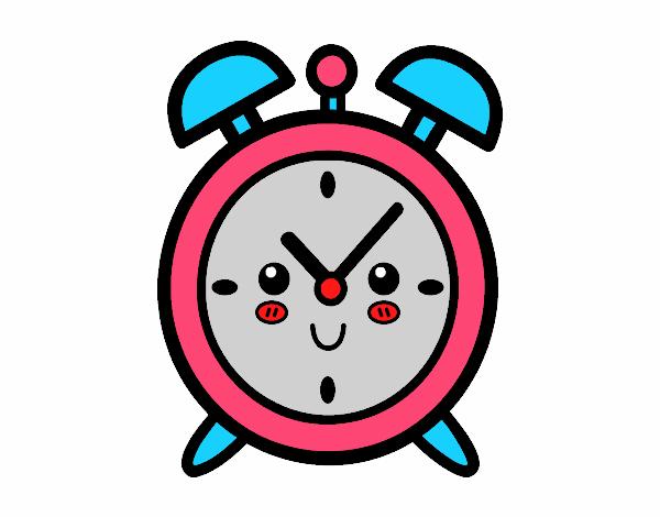 Dibujo de reloj despertador pintado por imeld en dibujos - Reloj pintado en la pared ...