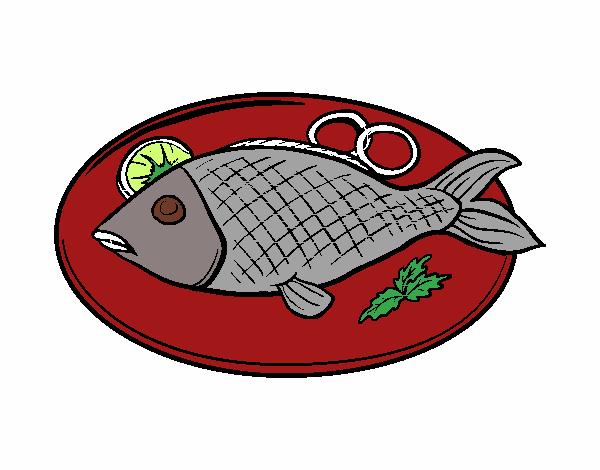Dibujo De Plato De Pescado Pintado Por En Dibujosnet El Día 28 07