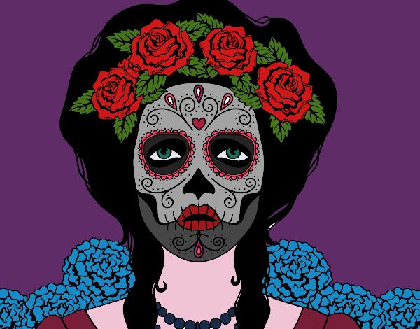Dibujo De Mujer Calavera Mejicana Pintado Por En Dibujosnet El Día