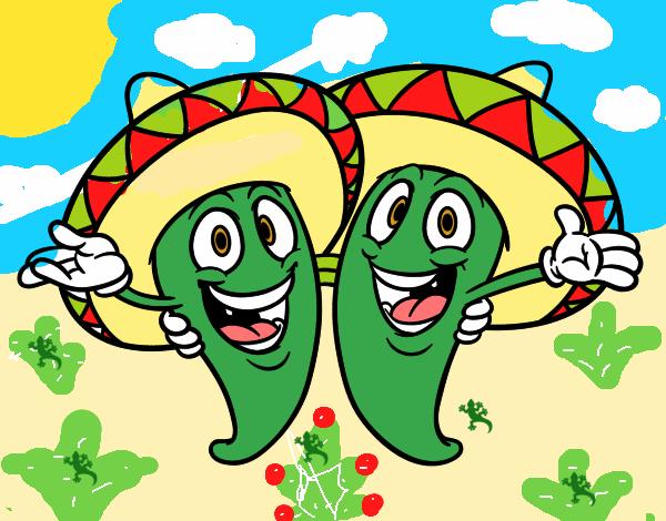 Dibujo De Chilena Para Colorear: Dibujo De Un Chile Muy Chile Pintado Por En Dibujos.net El