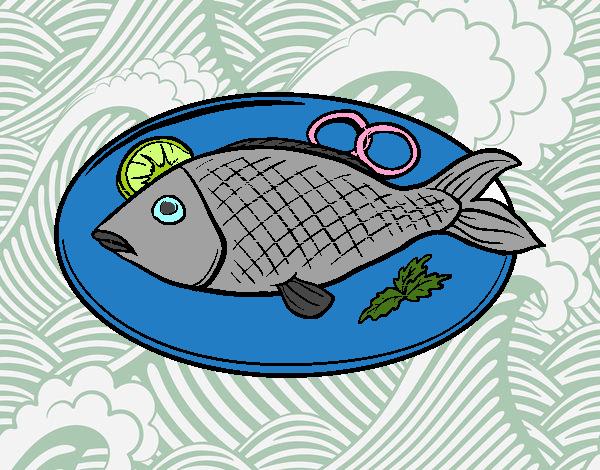 Dibujo De Plato De Pescado Pintado Por En Dibujos.net El