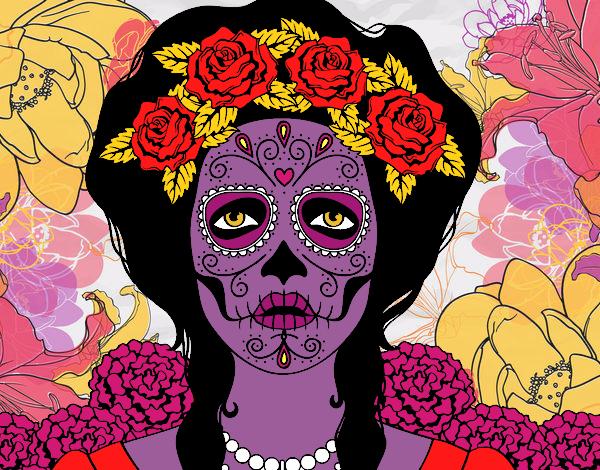 Dibujo De Caravera Mexicana Con Flores Pintado Por En Dibujosnet El