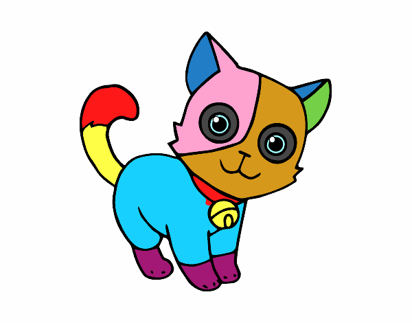 Dibujo De El Gato Con Manchas De Colores Pintado Por En Dibujosnet