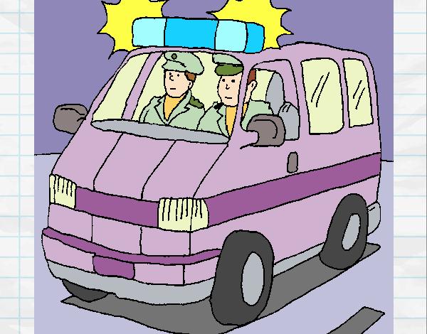 Dibujo De Ambulancia En Servicio Para Colorear Dibujos Net