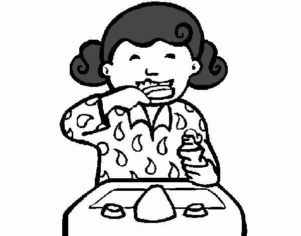 Dibujo Para Colorear De Una Nina Cepillandose Los Dientes Dibujo De