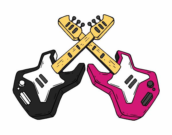 Dibujo De Guitarras Eléctricas Pintado Por En Dibujosnet El