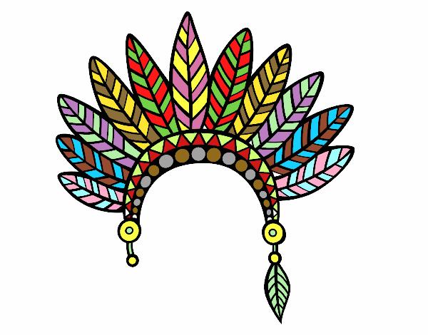 Dibujo De Corona De Plumas De Jefe Indio Pintado Por En Dibujosnet