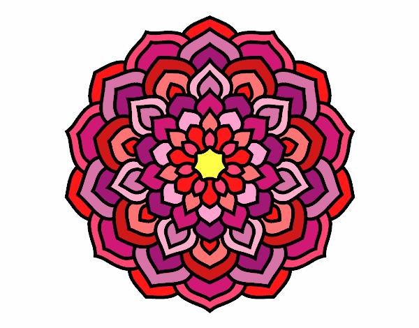 Flores En Dibujo A Color: Dibujo De Mandala De Los Muchos Colores Pintado Por En