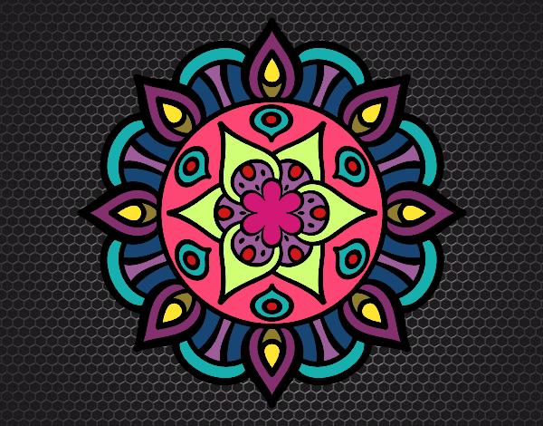 Dibujo De Mandala Colores Fríos Y Cálidos Pintado Por En
