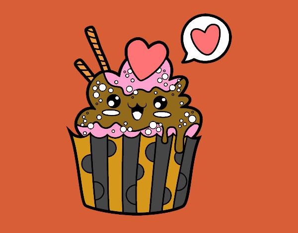 Dibujo De Cupcake Kawaii Con Lazo Para Colorear Dibujos Net Slidehdco