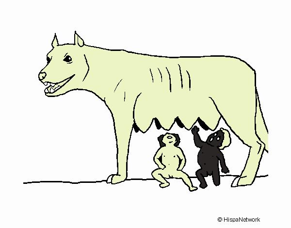 Dibujo De Loba Con Rómulo Y Remo Pintado Por En Dibujosnet