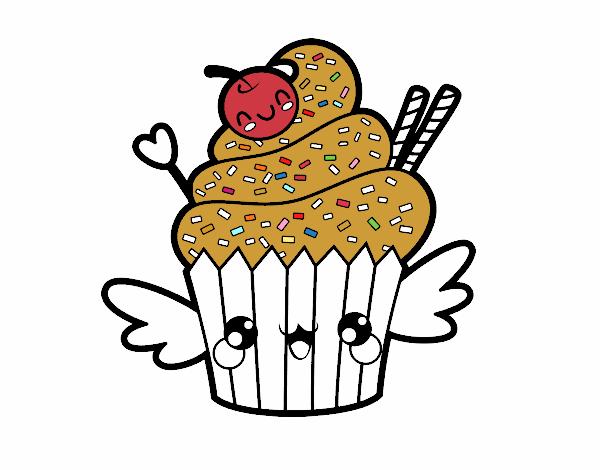 Dibujo de Cupcake kawaii con cereza pintado por en Dibujos.net el ...