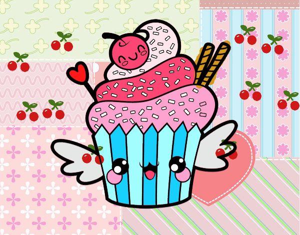 Dibujo De Cupcake Kawaii Con Cereza Pintado Por Rici En Dibujosnet