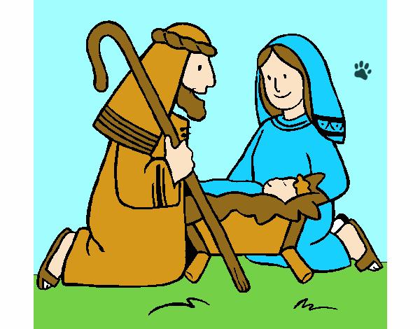Dibujos De Navidad Con Jesus.Dibujo De Adoran Al Nino Jesus Pintado Por Santy15 En