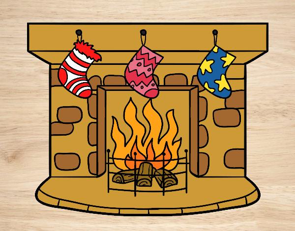 Dibujo de Chimenea de Navidad pintado por Bfflove en Dibujosnet el