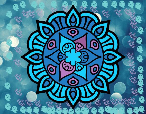 Dibujo De La Mandala Con Colores Frios Pintado Por En Dibujosnet El