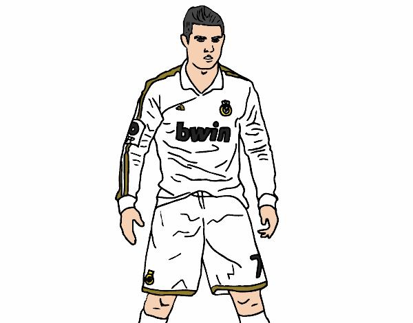 Dibujos Del Real Madrid Para Imprimir Y Colorear: Dibujo De Cristiano Ronaldo Real Madrid Pintado Por