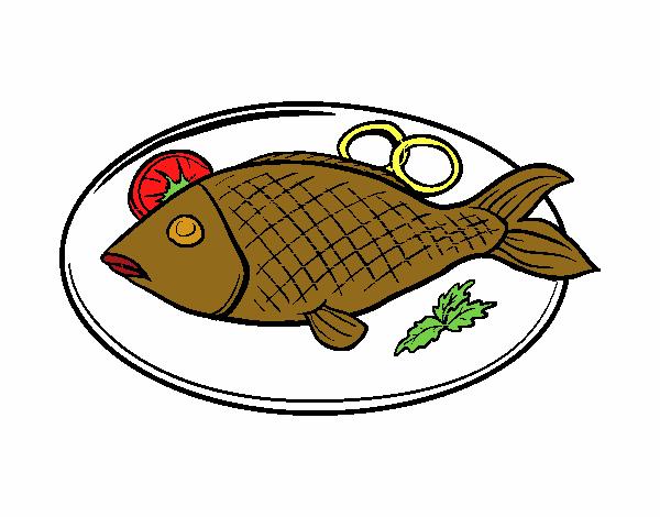 Dibujo De Plato De Pescado Pintado Por En Dibujosnet El Día 27 02