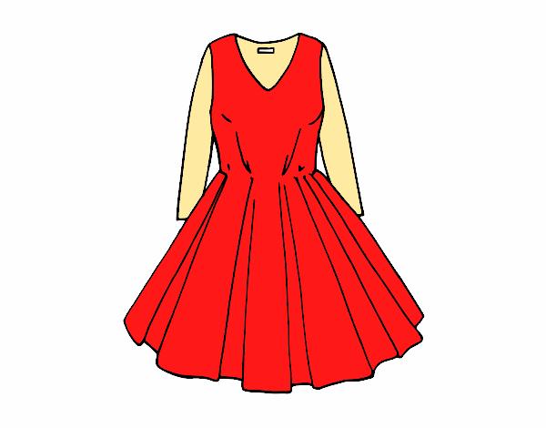 Dibujo De Vestido Con Falda De Vuelo Pintado Por Mirialex En