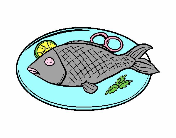 Dibujo De Pescado Asado Pintado Por En Dibujosnet El Día 14 05 17 A