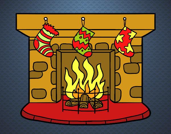 Dibujo de Chimenea de Navidad pintado por en Dibujosnet el da 17