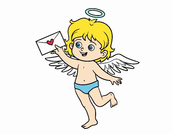 Dibujo de Cupido con carta de amor pintado por en Dibujos.net el día ...