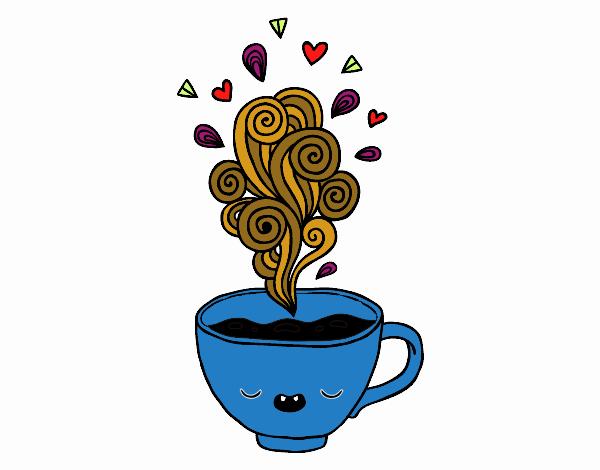Dibujo De Taza De Café Kawaii Para Colorear Dibujos Net