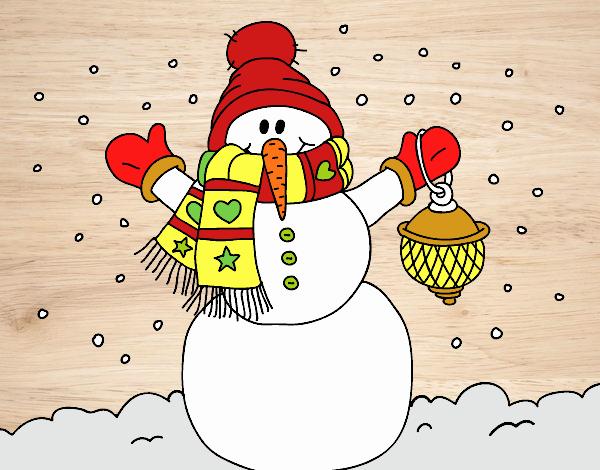Muñeco De Nieve Dibujo: Dibujo De Un Muñeco De Nieve Navideño Pintado Por Navid