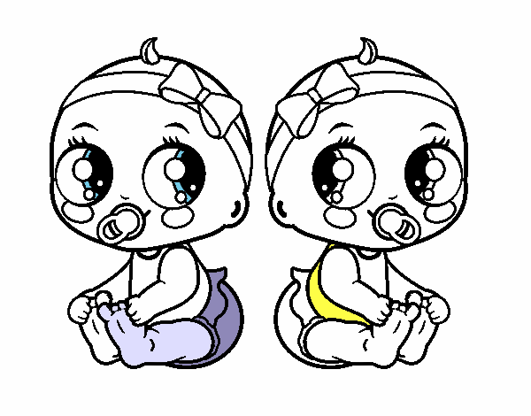 Dibujo De Gemelas Bebes Niñas Pintado Por En Dibujosnet El Día 25