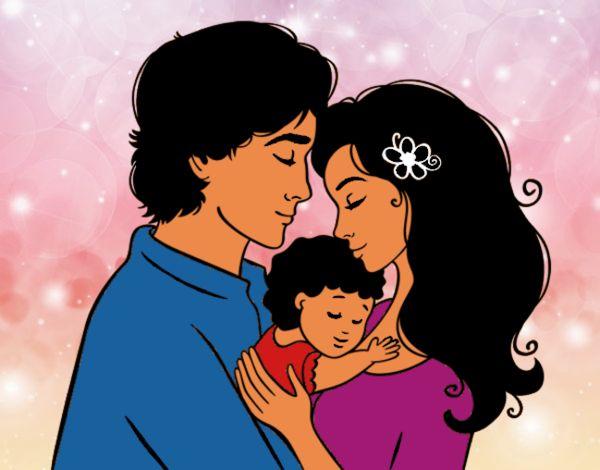 Dibujo De Abrazo Familiar Entre Papa,mama Y Hija Pintado