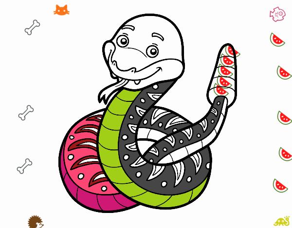 Dibujo de Una serpiente de cascabel pintado por en Dibujos.net el ...