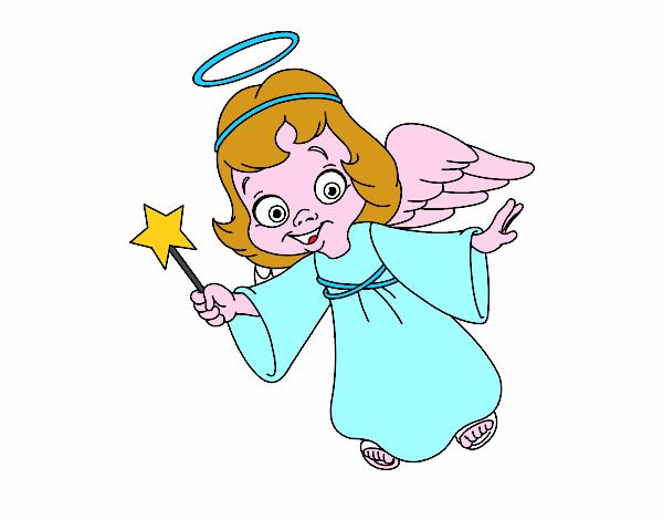 Dibujo angel navidad