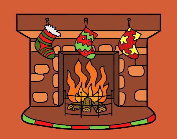 Dibujo de Chimenea de Navidad pintado por en Dibujosnet el da 24