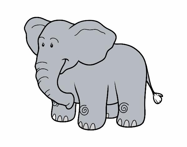Dibujo de Un elefante africano pintado por en Dibujos.net el día 08 ...