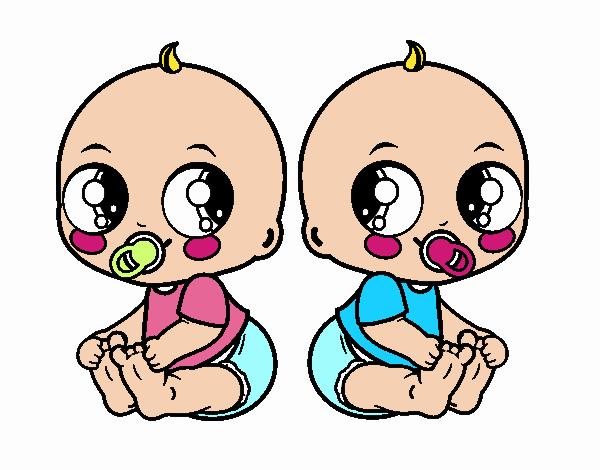 Dibujo De Bebés Gemelos Pintado Por Francesita En Dibujosnet El Día