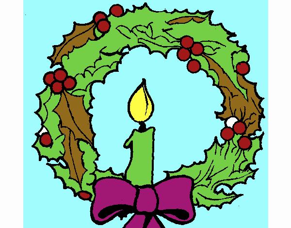 Dibujos De Velas De Navidad Para Colorear: Dibujo De Corona De Navidad Y Una Vela Pintado Por En