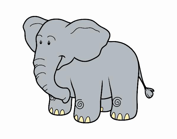 Dibujo de Un elefante africano pintado por en Dibujos.net el día 13 ...