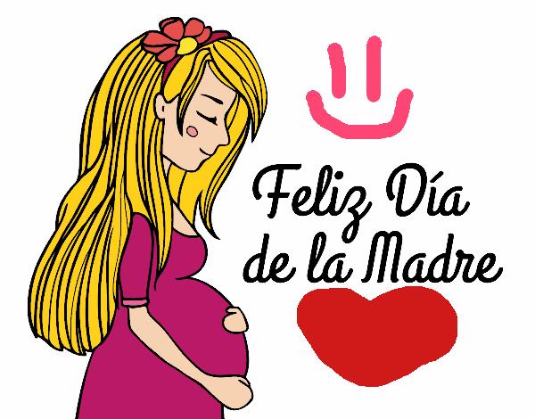 Dibujo De Mamá Embarazada En El Día De La Madre Pintado Por