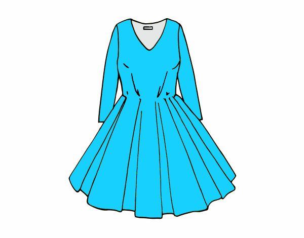 c2ee8227f Dibujo de Vestido con falda de vuelo pintado por en Dibujos.net el ...
