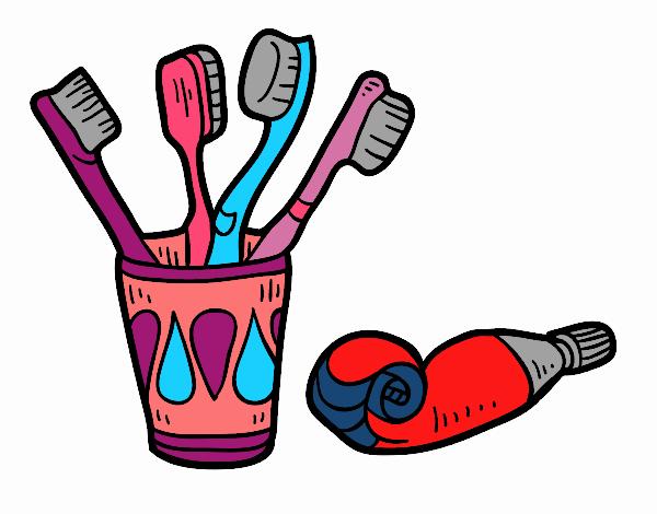 Dibujo De Cepillos Y Pasta De Dientes Pintado Por En Dibujosnet El