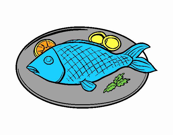 Dibujo De Plato De Pescado Pintado Por En Dibujosnet El Día 06 03