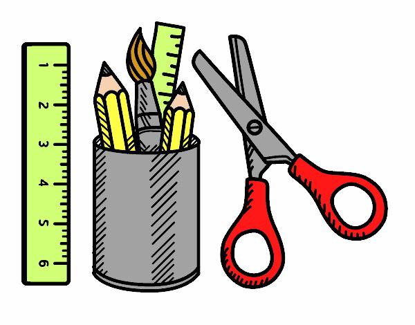 Dibujo De El Material Escolar Pintado Por En Dibujosnet El
