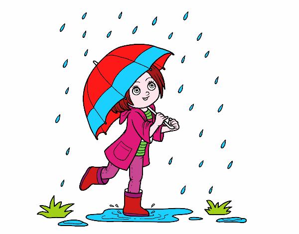 Dibujo de Niña con paraguas bajo la lluvia pintado por en Dibujos ...