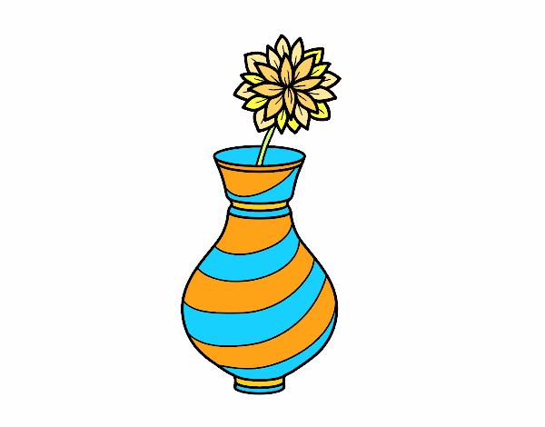 Dibujo de Crisantemo en un jarrón pintado por en Dibujos.net el día ...