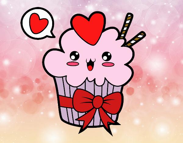 Dibujo De Cupcake Kawaii Con Lazo Pintado Por En Dibujosnet El Día